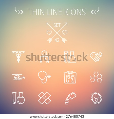 Medicine thin line icon set for web and mobile. Set includes- molecule, medicine, doctor, stethoscope, bandage, medical symbol, air ambulance icons. Modern minimalistic flat design. Vector white icon - stock vector