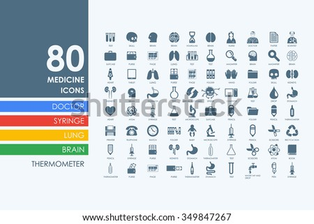 medicine vector set of modern simple icons - stock vector