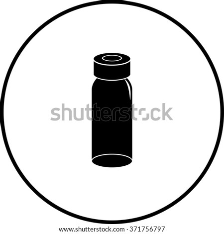 medicine vial bottle symbol - stock vector
