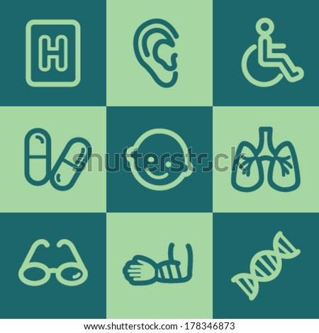 Medicine web icon set 2, green square buttons set - stock vector