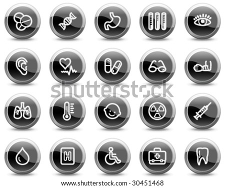 Medicine web icons, black glossy circle buttons series - stock vector