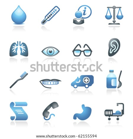 Medicine web icons. Gray and blue series. - stock vector