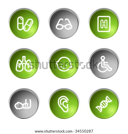 Medicine web icons set 2, green and grey circle buttons series - stock vector