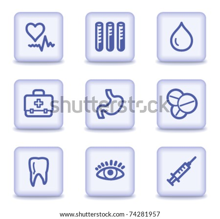 Medicine web icons set 1, light violet glossy buttons - stock vector