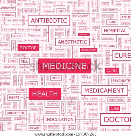 MEDICINE. Word cloud concept illustration. Wordcloud collage. Vector illustration.  - stock vector