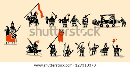 medieval army set - stock vector