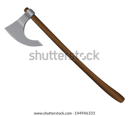 Medieval battle ax on a long handle. Vector illustration. - stock vector