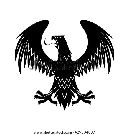 Medieval black eagle heraldic icon for royal coat of arms or knight insignia design usage with proud bird of prey with open beak, extended legs and wings - stock vector