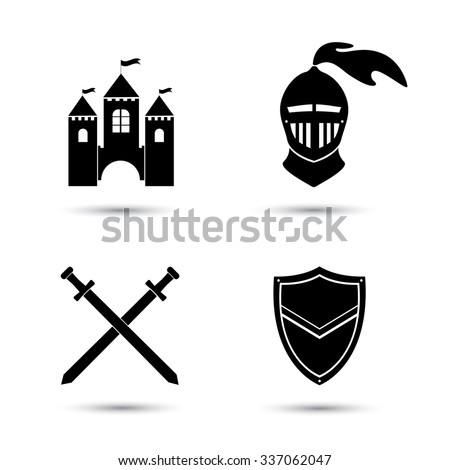 Medieval black icons set isolated  on white. Old castle. Knight shield and sword - stock vector