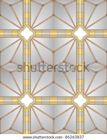 Medieval cathedral ceiling (seamless image) - stock vector