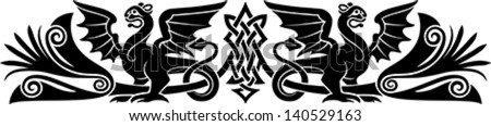 Medieval Celtic pattern with bizarre creatures look like griffins or dragons. Good as an armband tattoo. - stock vector