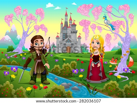 Medieval couple in a landscape with castle. Cartoon vector illustration - stock vector