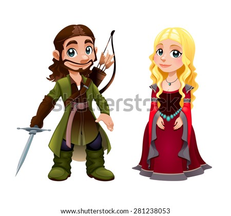 Medieval Couple: Knight and Princess. Vector cartoon isolated character. - stock vector