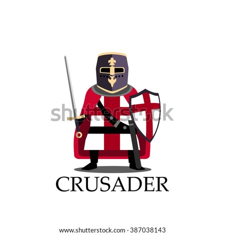 Medieval crusader knight, preparing for joust or fight sign. Vector Illustration. Cartoon logo design template Isolated on a white background. - stock vector