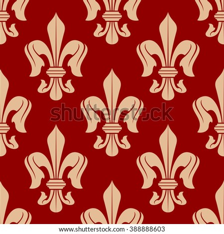 Medieval floral seamless fleur-de-lis pattern of delicate peach french royal lilies, adorned by victorian flourishes over red background. Use as vintage wallpaper, embellishment or heraldry design  - stock vector
