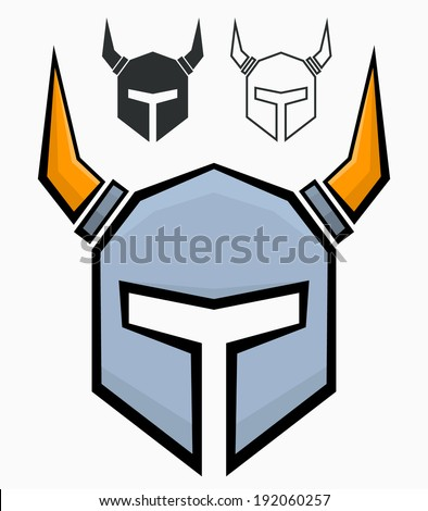 Medieval helmet with gold horns - stock vector