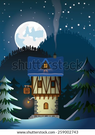 medieval house - stock vector