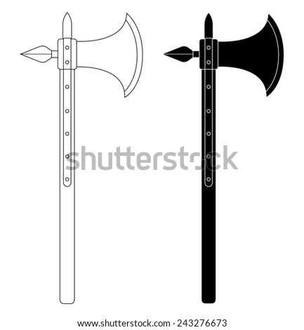 Medieval knight battle ax with armor pierce. Contour lines clip art vector illustration isolated on white - stock vector