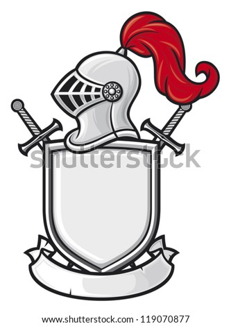 medieval knight helmet, shield, crossed swords and banner -  coat of arms (knight head in helmet, heraldic composition) - stock vector