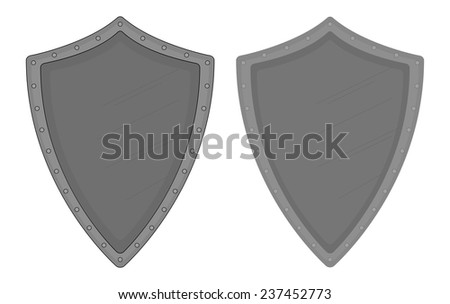 Medieval knight old steel armor shield with scratches and rivets. Color clip art vector illustration isolated on white. Contour, no contour - stock vector