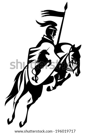 Medieval knight with a heraldic unicorn shield riding horse and holding banner - black and white vector outline - stock vector