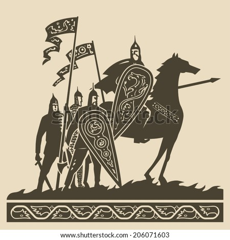 Medieval knights in full armor with large decorated shields and waving standards standing on the battlefield awaiting of the battle vector illustration - stock vector