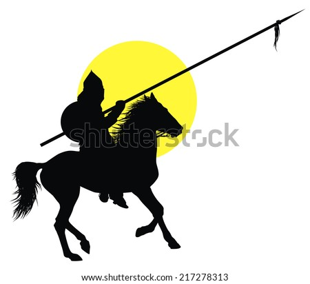 Medieval oriental warrior on horseback detailed vector silhouette - stock vector