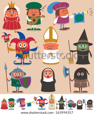 Medieval People 2: Set of 9 cartoon medieval characters. Below are the same characters customized for white background. No transparency and gradients used.  - stock vector