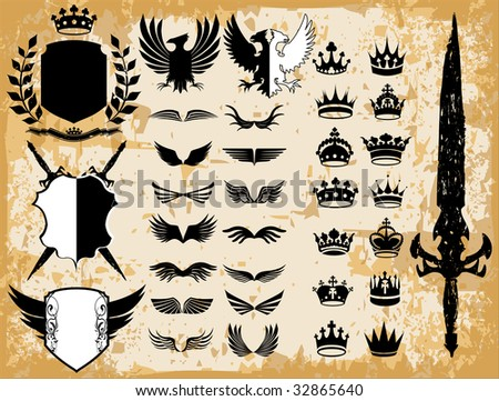 Medieval & royal vector design elements - stock vector