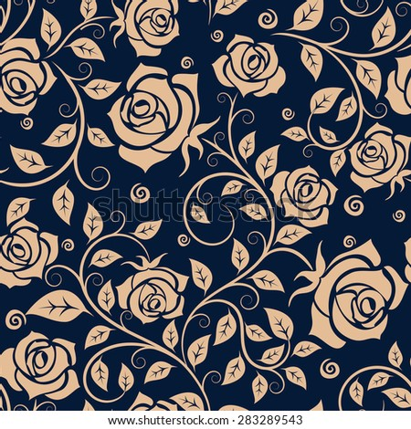 Medieval seamless pattern with beige roses on blue background for fabric or interior design - stock vector