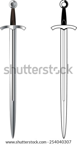 medieval sword - stock vector