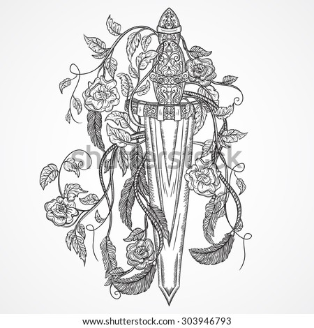 Medieval sword, roses, leaves and feathers. Vintage floral highly detailed hand drawn illustration. Isolated elements. Victorian Motif. Tattoo design - stock vector