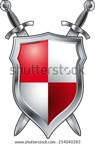 medieval swords and shield - stock vector