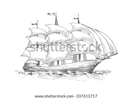 Medieval tall sailing ship on the ocean with full fluttering sails n the breeze, for nautical, adventure or journey theme - stock vector