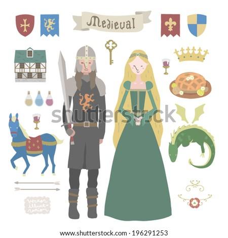 Medieval vector Illustrations set - stock vector
