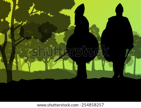Medieval warrior, crusader vector background landscape concept with trees and forest - stock vector