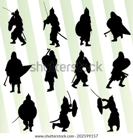 Medieval warrior, crusader vector background set - stock vector