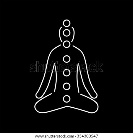 Meditation and chakras white linear icon on black background | flat design alternative healing illustration and infographic - stock vector