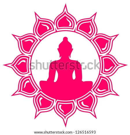 Meditation - Buddha - Lotus Flower - Symbol of enlightenment and balance - stock vector