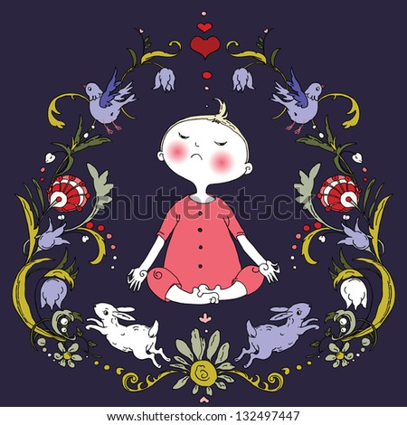 Meditation Child in the Floral Frame with Cute Bunnies and Birds. Can be use for design of advertising yoga meditation classes, children, t shirt, bag, card, CD, packaging,cups and plates and etc. - stock vector