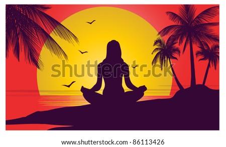 meditation on the ocean - stock vector