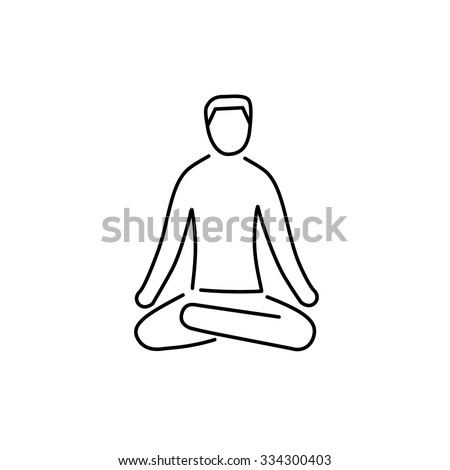 Meditation relaxation positon black linear icon on white background | flat design alternative healing illustration and infographic - stock vector