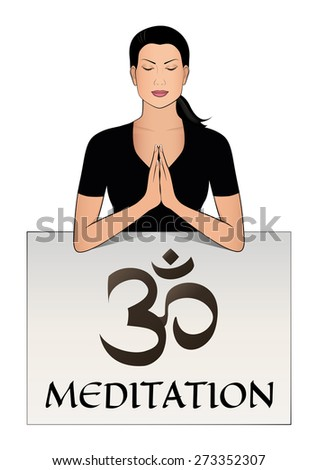 Meditation vector logo. Beautiful girl and signboard with OM symbol. Editable and scalable design. - stock vector