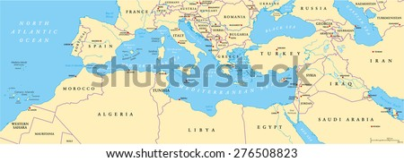 Mediterranean Basin Political Map. South Europe, North Africa and Near East with capitals, national borders, rivers and lakes. English labeling and scaling. Illustration. - stock vector