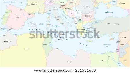 mediterranean sea map - stock vector