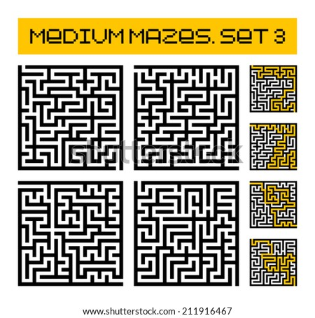 medium mazes set 3 - stock vector
