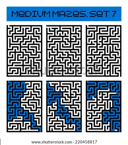 medium mazes set 7 - stock vector