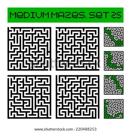 medium mazes set 25 - stock vector