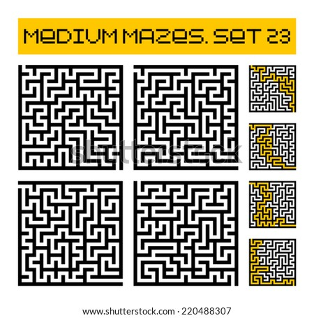 medium mazes set 23 - stock vector