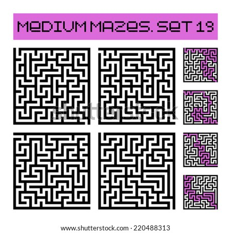 medium mazes set 19 - stock vector